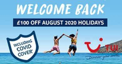 Save £100 per booking on August holidays departing between 1st August 2020 and 31st August 2020 with code SUN